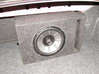 Установка сабвуфера JBL Stage 1010 v-box vented в Mitsubishi Lancer X