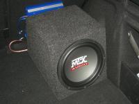 Установка сабвуфера MTX RT10-04 box в Peugeot 308