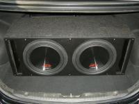 Установка сабвуфера Alpine SWR-12D4 x 2 vented box в Hyundai Solaris